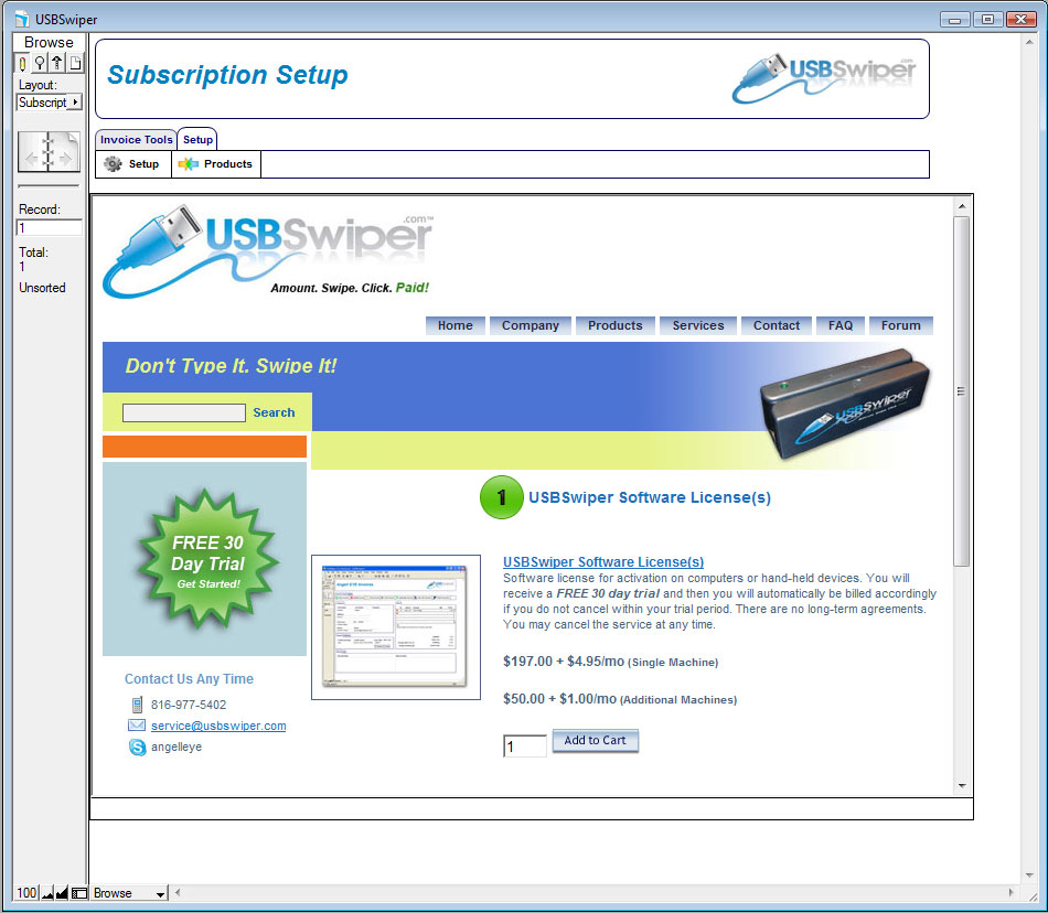 USBSwiper Subscription Step 1