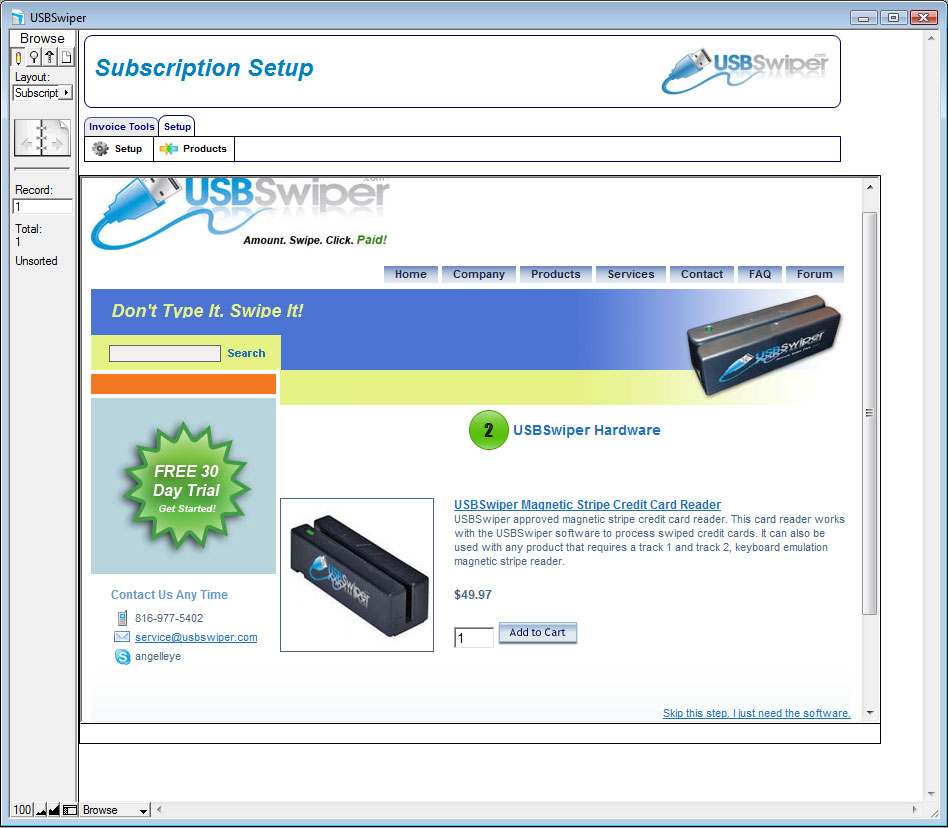 USBSwiper Subscription Setup Step 2