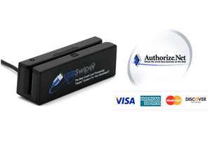 USBSwiper Credit Card Reader + Authorize.Net Software Interface for Laptop or Desktop Computers (Windows and MAC)